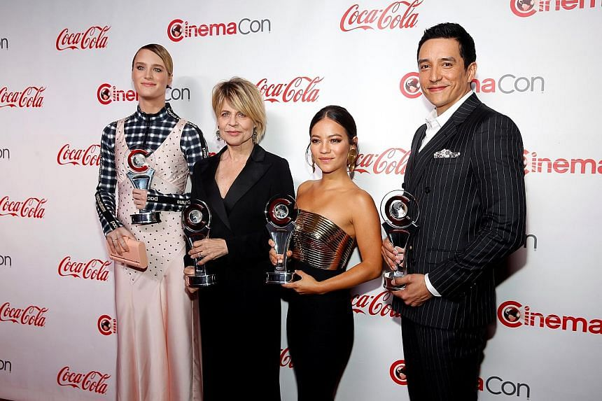 (From far left) Stars of Terminator: Dark Fate Mackenzie Davis, Linda Hamilton, Natalia Reyes and Gabriel Luna at the CinemaCon Big Screen Achievement Awards during CinemaCon in Las Vegas, Nevada, last week. Paramount Pictures is hoping the sequel to