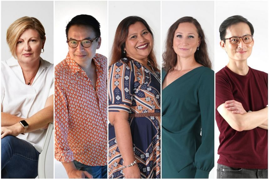 The five directors nominated for The Straits Times Life Theatre Awards 2019 (from left) Tracie Pang, Glen Goei, Aidli Mosbit, Edith Podesta and Nelson Chia.