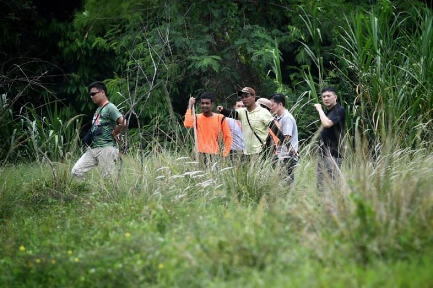 A search party on April 10, 2019, looking for the missing bull who escaped from his pen at Viknesh Dairy Farm in Lim Chu Kang.