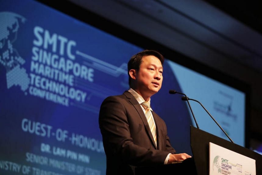 Senior Minister of State for Transport Lam Pin Min speaking at the Singapore Maritime Technology Conference at the Sands Expo and Convention Centre on April 10, 2019.