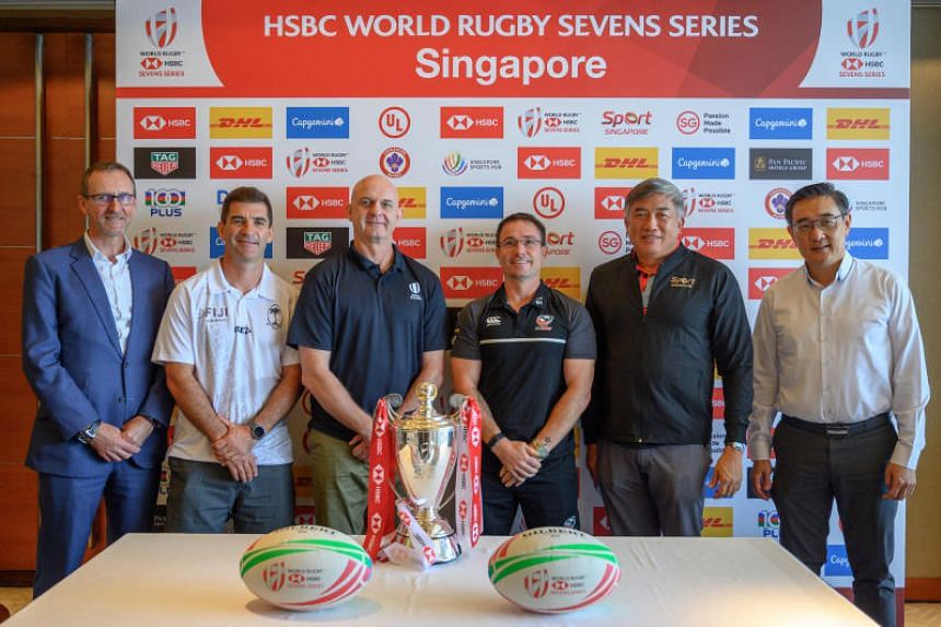 (From left) Tony Lewis, Gareth Baber, Douglas Langley, Mike Friday, Lim Teck Yin and Oon Jin Teik at the press conference on April 9 ahead of the HSBC Singapore Rugby Sevens.