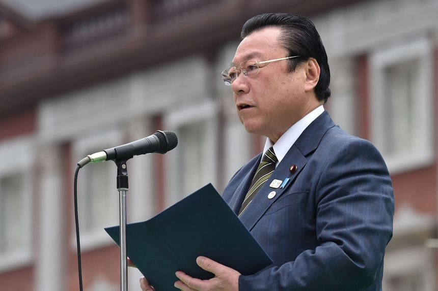 Sakurada delivers a speech during the final event of the Tokyo 2020 Olympic Flag and Paralympic Flag Tour.