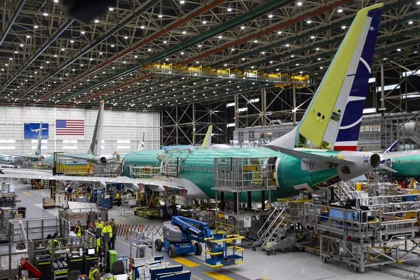 Boeing 737 Max airplanes on the assembly line at the Boeing plant.