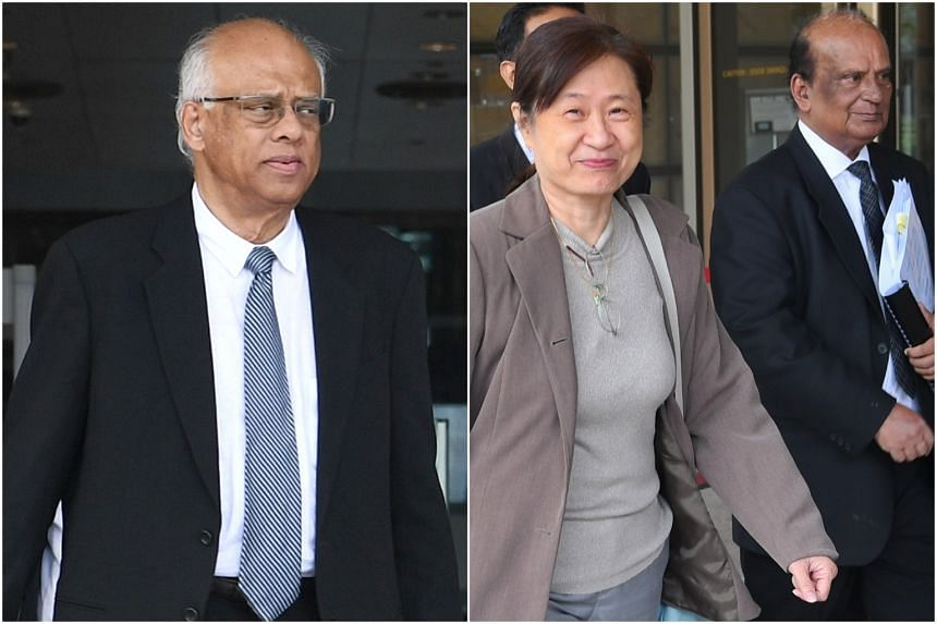 Senior Counsel Chelva Rajah (left) , who leads the legal team defending five town councillors, including three Workers' Party MPs, and FM Solutions and Services co-founder How Weng Fan (right) with her lawyer Leslie Netto at the High Court yesterday.