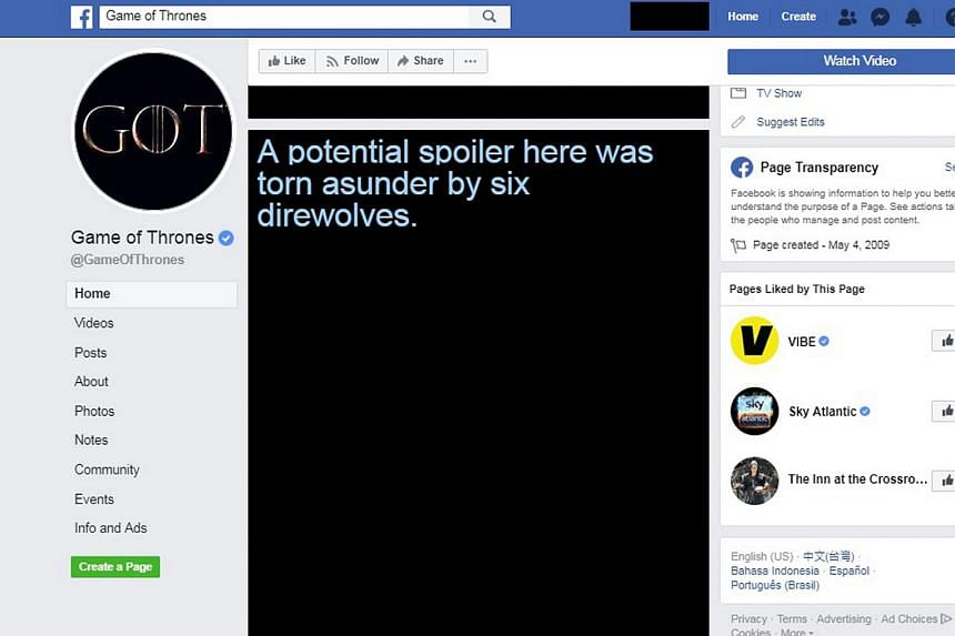 The Game Of Spoils extension blacks out posts relating to the hit TV series, Game Of Thrones, and comes with witty lines.