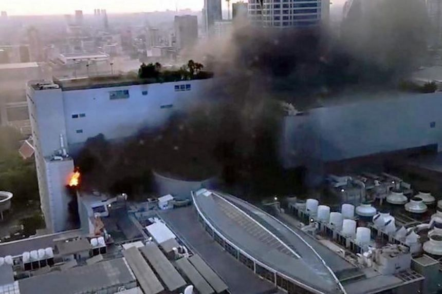 The fire broke out at the CentralWorld shopping mall in Bangkok on April 10, 2019.