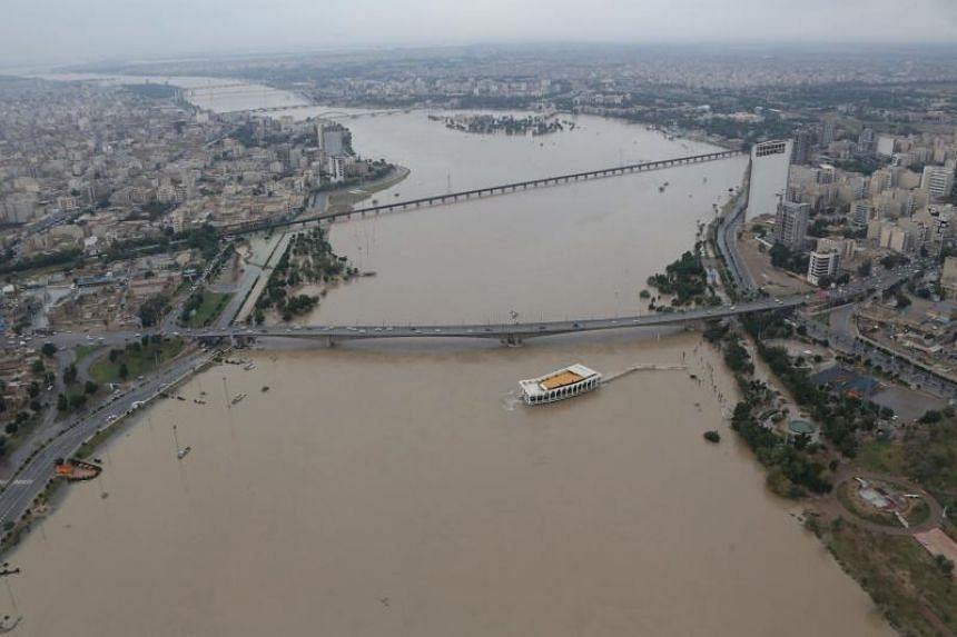 The Karun River, which burst its banks on April 9, 2019. Floods described by officials as the worst since the 1940s have hit some 1,900 cities and villages across Iran after exceptionally heavy rain since March 19.