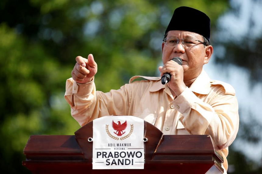 Indonesia's presidential candidate Prabowo Subianto at a campaign rally in Solo, Central Java Province, Indonesia, on April 10, 2019.