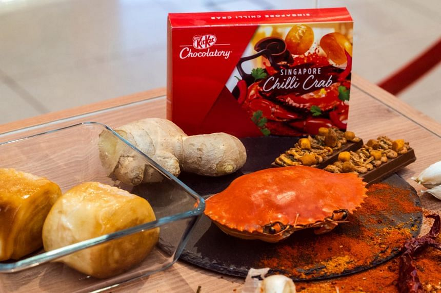 Now, Singapore has its own unique local flavours of the chocolate snack to call its own: Singapore chilli crab, salted egg yolk and kopitiam breakfast.