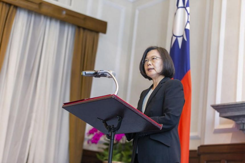 Taiwanese President Tsai Ing-wen speaking at a ceremony for promoting military officers in Taipei, on April 1, 2019.