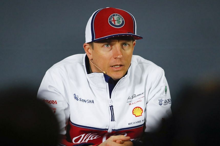 Raikkonen attends a press conference ahead of the Chinese grand prix.