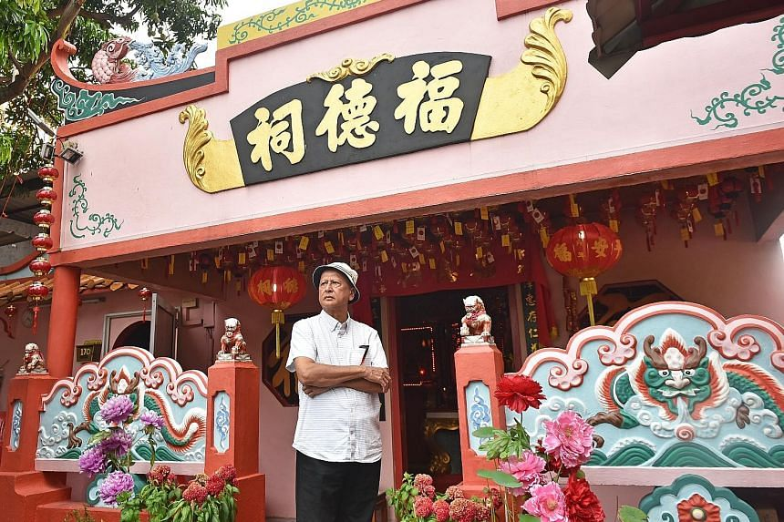 Lawyer Bachoo Mohan Singh outside the Sin Choon Huat Temple funded and built by his father, Mr Bachoo Singh, who was a businessman who came to Singapore from India in the 1920s. The elder Mr Singh also built the warehouse at 49 Moonstone Lane. Left: