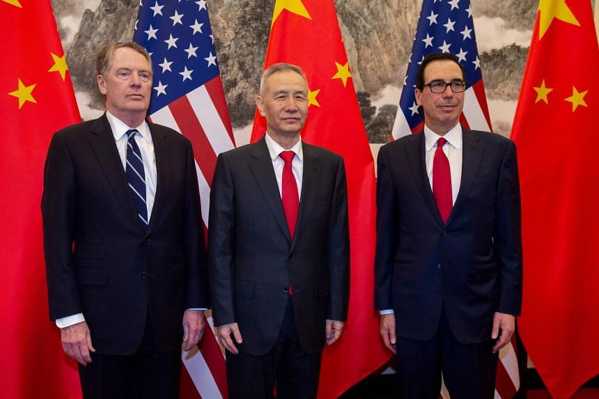 (From left) US Trade Representative Robert Lighthizer, Chinese Vice-Premier Liu He and US Treasury Secretary Steven Mnuchin at Diaoyutai State Guesthouse in Beijing on March 28, 2019.