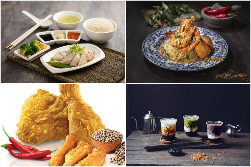 (Clockwise from top left) Signature Hainanese chicken personal set from Pow Sing, The Empress Pasta from Herit8ge, Brown Sugar Deerioca series from The Alley and Golden Aroma Chicken with chicken tenders from A&W.