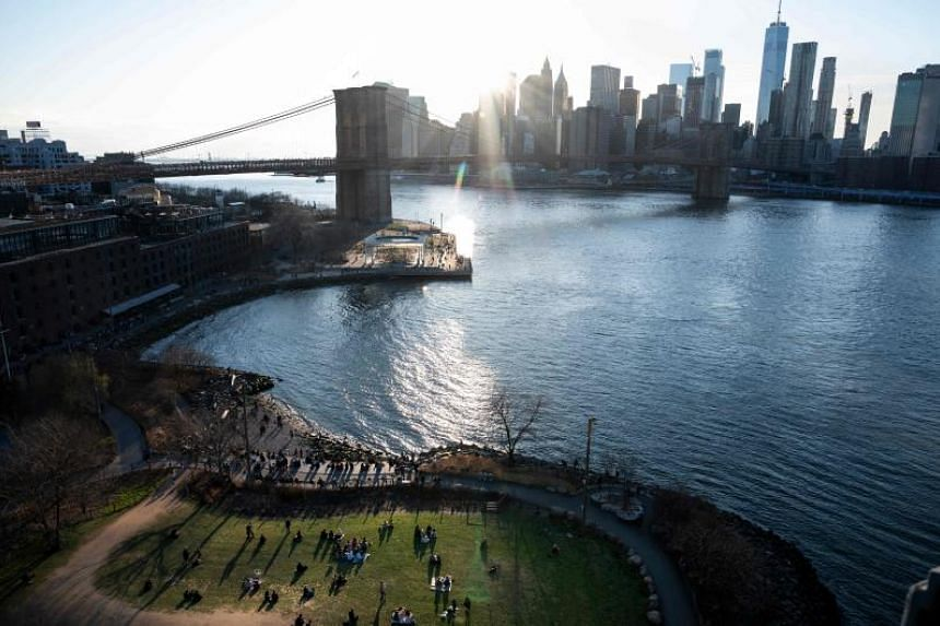 The Brooklyn Bridge and the skyline of lower Manhattan  in New York city  on April 6, 2019. In many cases, water reallocation benefited cities to the detriment of rural populations, often causing protests from farmers whose taps ran dry, the study sa