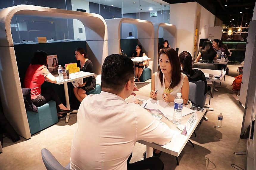 The event, #wegotyourback, was held at WorkCentral in Singapore Shopping Centre. Ms Simel Essen (above) found a job through a previous session of the event held last May and got a job with Johnson & Johnson.