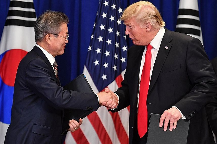 South Korean President Moon Jae-in and his United States counterpart Donald Trump, seen here in a meeting in New York last year, were slated to meet at the White House yesterday. PHOTO: AGENCE FRANCE-PRESSE