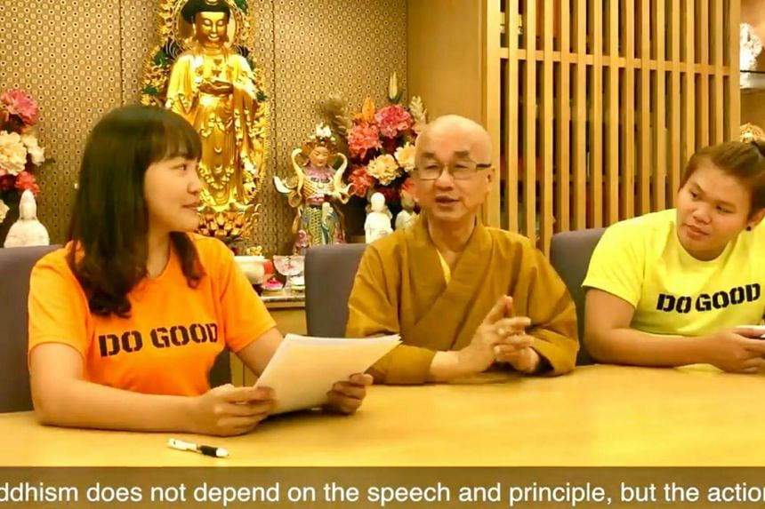 A screenshot of a video by the Singapore Buddhist Federation Youth (SBFY), featuring (from left) SBFY media head Candy Chang, Venerable Kwang Phing, and SBFY vice-president Jeff Foo.