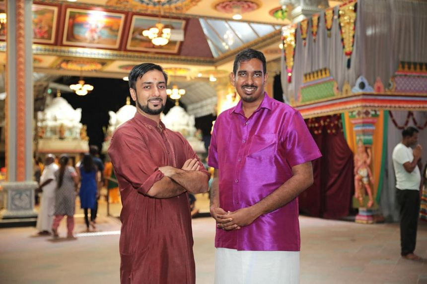 Mr Shivanand Rai (left) and Mr Janarthanan Krishnasamy, both 29, who started the digital platform SGHindu to share information about Hinduism in Singapore.