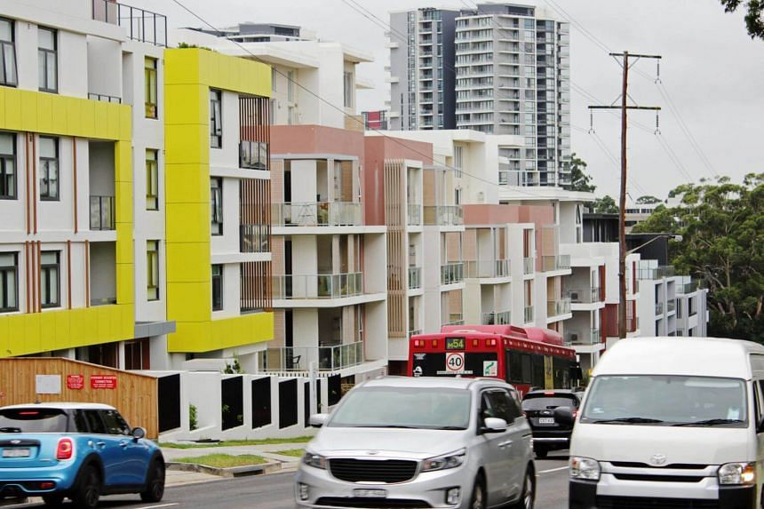 A row of newly-built apartment blocks in the suburb of Epping, Sydney, on Feb 1, 2019.