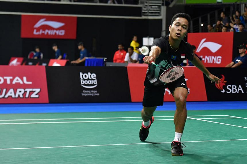 Indonesia's Anthony Sinisuka Ginting (above) defeated China's Chen Long 21-8, 21-19 in their men's singles quarter-final of the Singapore Badminton Open on April 12, 2019.