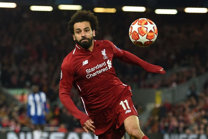 Salah chases the ball during Liverpool's Champions League quarter-final, first leg match against FC Porto.