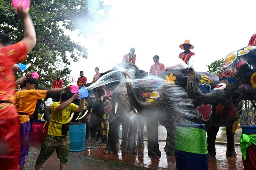 Revellers and elephants splash water at each other during the Songkran ceremony in Ayutthaya, on April 11, 2019.
