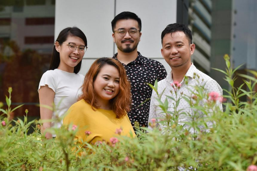 Thir.st staff (clockwise from left) Wong Si Qi, assignments editor, Gabriel Ong, writer and copy editor, Edric Sng, editor and Joanne Kwok, 30, creative producer.