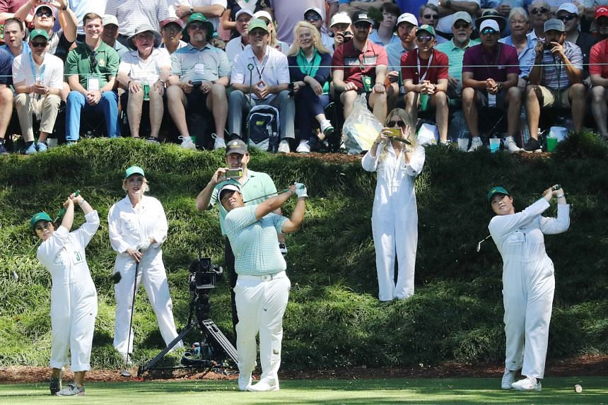 """Thai golfer Kiradech Aphibarnrat (centre) teeing it up at the ninth with his Par 3 Contest caddies, Ladies Professional Golf Association stars Ariya (right) and Moriya Jutanugarn. He was """"one-upped"""", with the Masters account tweeting a video as world"""