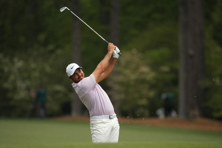 During second round play. Jason Day of Australia hits off the 12th tee.