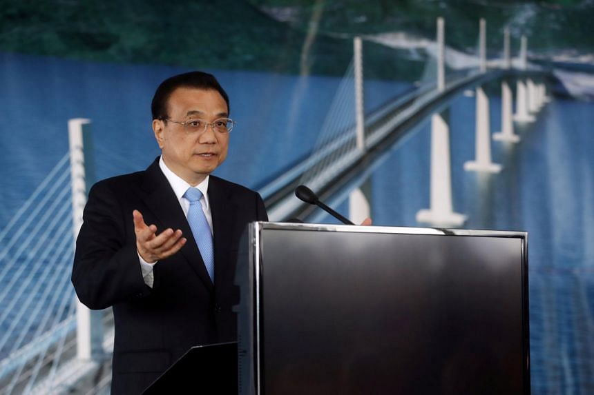 Chinese Premier Li Keqiang speaking at a ceremony at the construction site of the Peljesac Bridge in Brijesta, Croatia, on April 11, 2019.