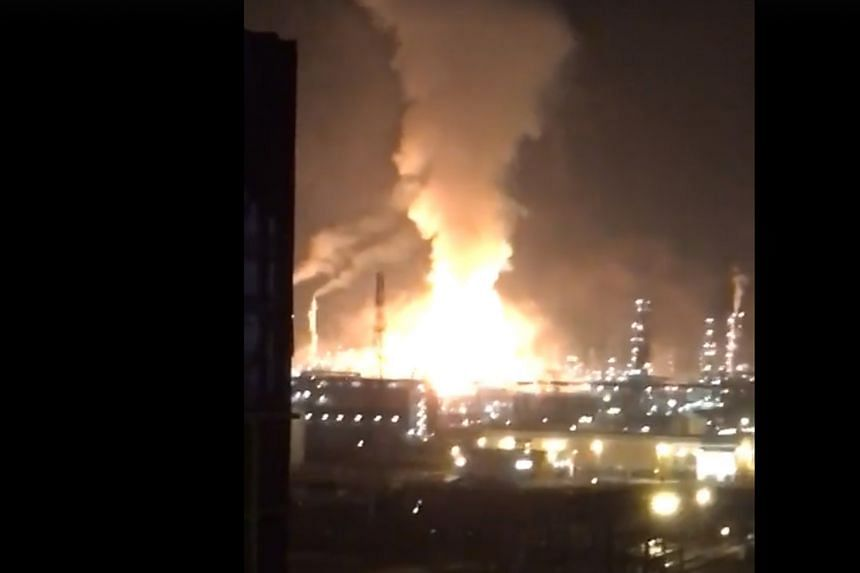 According to media reports, the explosion at the multibillion-dollar Pengerang Integrated Complex yesterday morning was triggered by a leaking gas tank. PHOTO: OFFSHORE LIFE/FACEBOOK