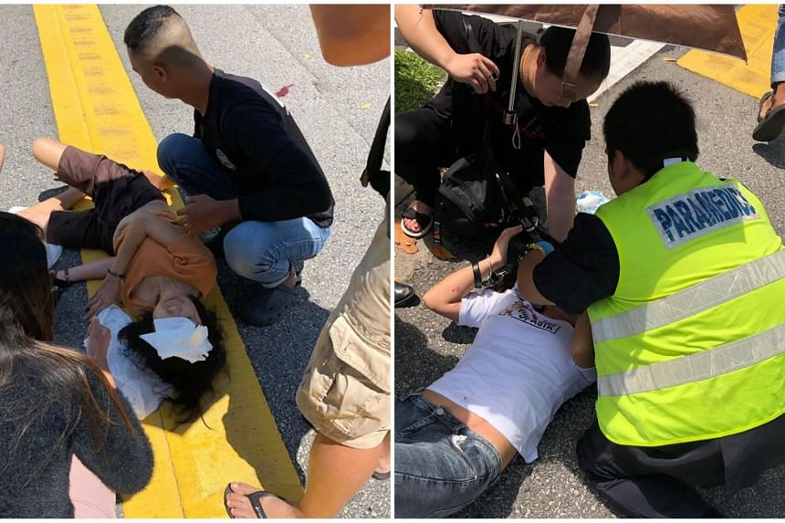 Two women had to be taken to hospital after an accident with a taxi outside Jurong Point on April 13.