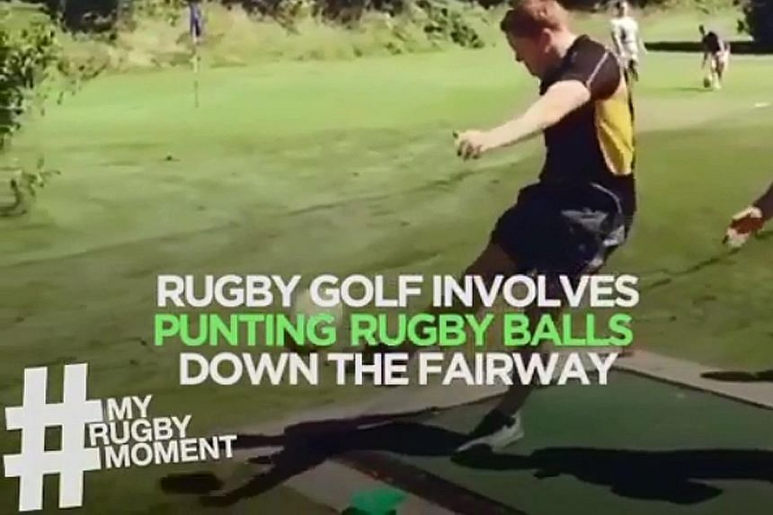 CAUGHT ON CAMERA Not sure what to pick with golf's Masters and the rugby sevens happening this weekend? Try Rugby Golf.