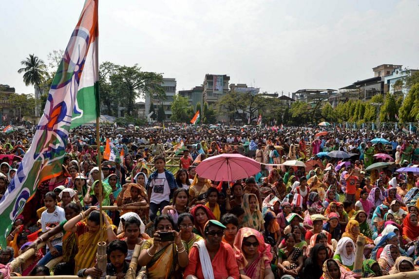 Supporters attending a Bharatiya Janata Party election rally meeting in Bangalore, India, on April 13, 2019.
