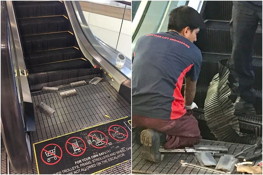 Photos show the bottom steps of the escalator damaged badly, with some parts strewn on its landing on the second floor.