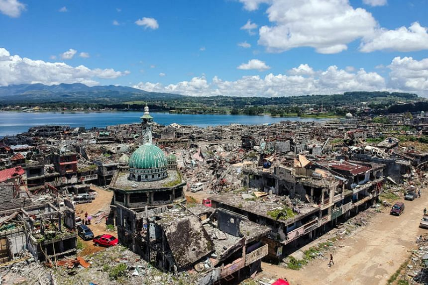 A drone shot of Marawi's commercial hub, which was destroyed during five months of fighting after pro-ISIS militants stormed and seized control of large parts of Marawi in 2017.