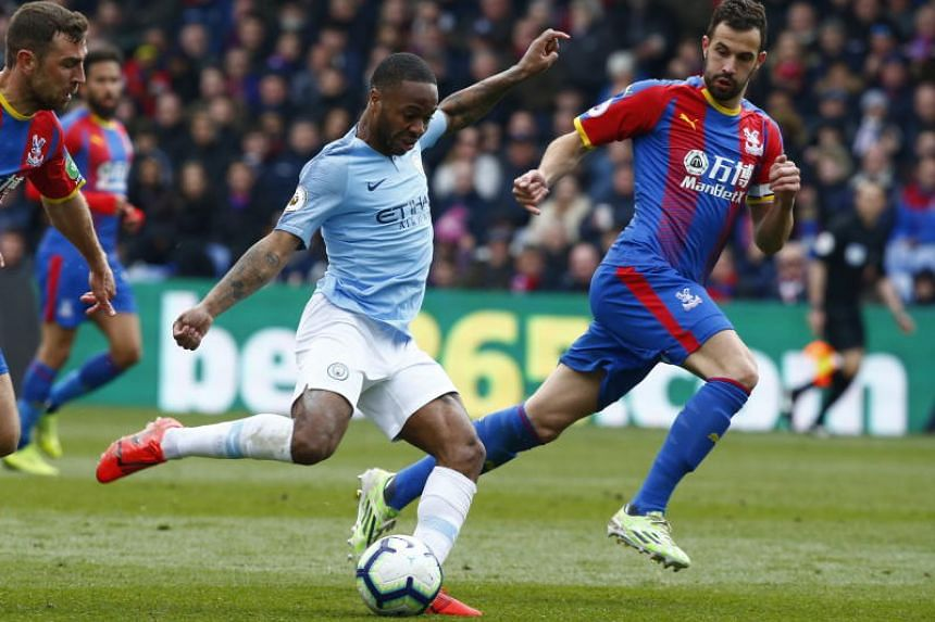Manchester City's Raheem Sterling in action during the English Premier League match against Crystal Palace at Selhurst Park stadium in London on April 14, 2019.