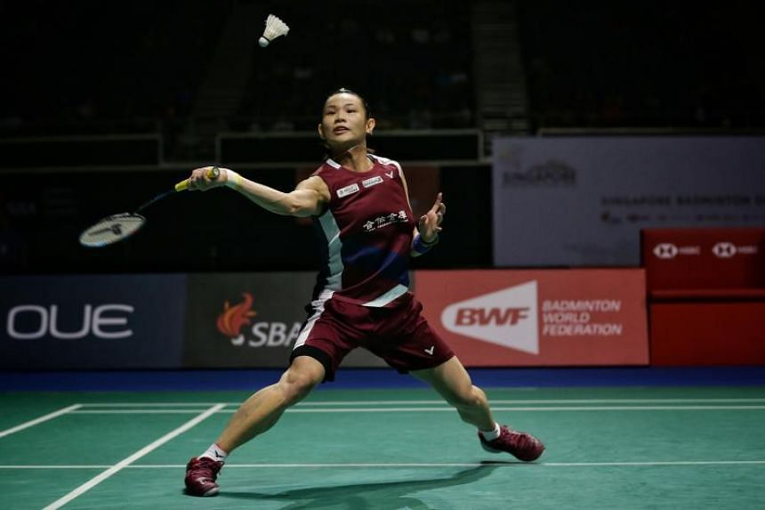 Tai Tzu-ying in action against Nozomi Okuhara (not pictured) during the Singapore Badminton Open women's singles final at Singapore Indoor Stadium on April 14, 2019.