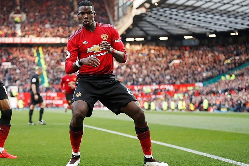 Paul Pogba celebrating scoring his second penalty in Manchester United's 2-1 Premier League defeat of West Ham at Old Trafford on Saturday.
