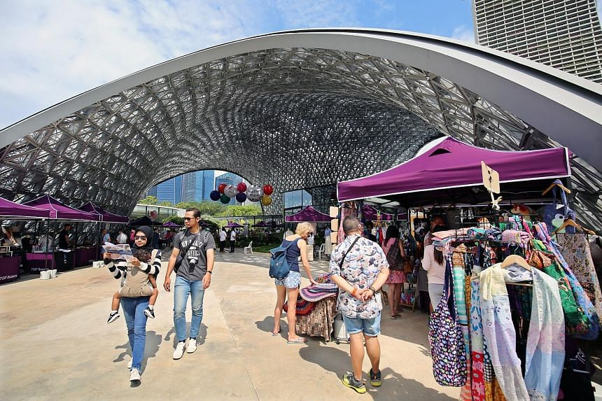 The newly launched 5,000 sq m Bayfront Plaza houses a new floral attraction and community spaces that will host a weekend market.