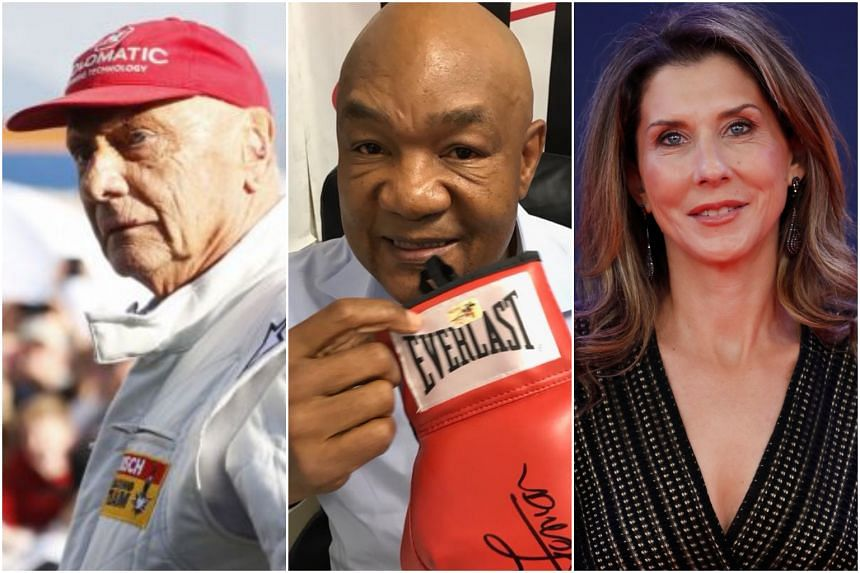 (From left) Austrian driver Niki Lauda, US heavyweight George Foreman, and Monica Seles.