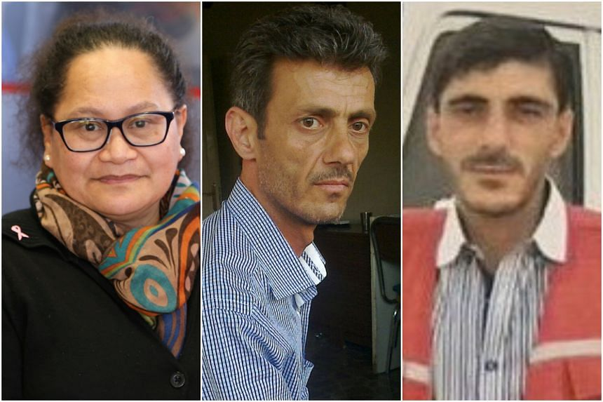 The missing staff have been identified as (from left) Louisa Akavi, a nurse from New Zealand, and Syrian drivers Alaa Rajab and Nabil Bakdounes.