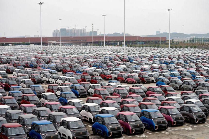 Electric cars at a carpark in Liuzhou, Guangxi Zhuang Autonomous Region, China, on Feb 28, 2019.