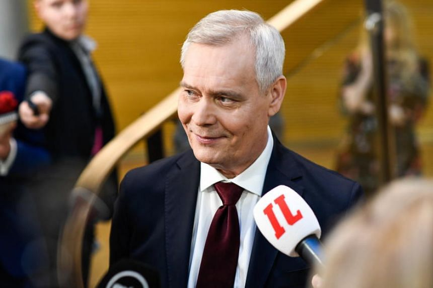 Social Democratic Party leader Antti Rinne attends the parliamentary election night media event at the Annex to the Parliament Building in Helsinki, Finland, on April 14, 2019.
