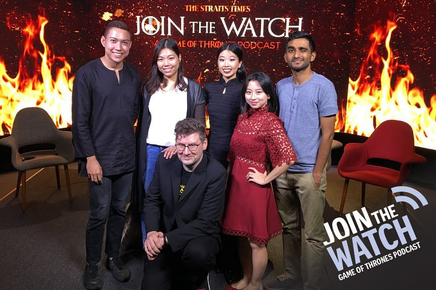 Join The Watch: Podcast host Jonathan Roberts (bending the knee) is joined by various emissaries from the different kingdoms of The Straits Times - (from left) Melissa Heng, Hairianto Diman, Olivia Ho, Jan Lee and S Sakthivel