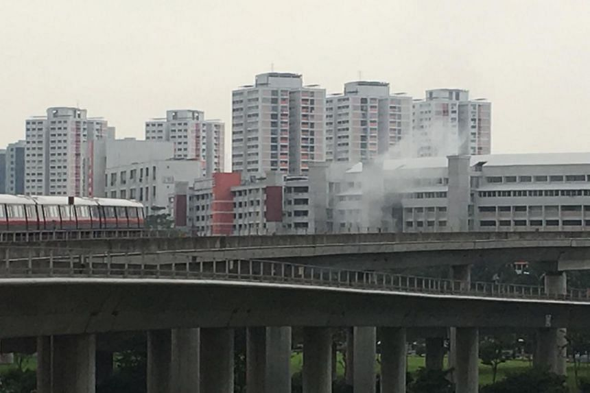 A Reddit user shared a photo on April 14 of smoke rising in the air from an HDB block.