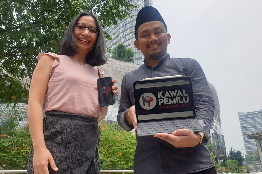 Ms Elina Ciptadi and Mr Ainun Najib are among the co-founders of Kawal Pemilu, one of a number of independent groups that have set up websites or mobile apps to monitor vote counting in the Indonesian polls this week.