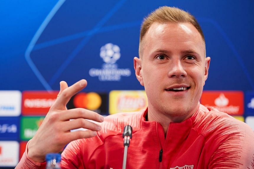 Marc Andre ter Stegen attends a press conference ahead of the match.