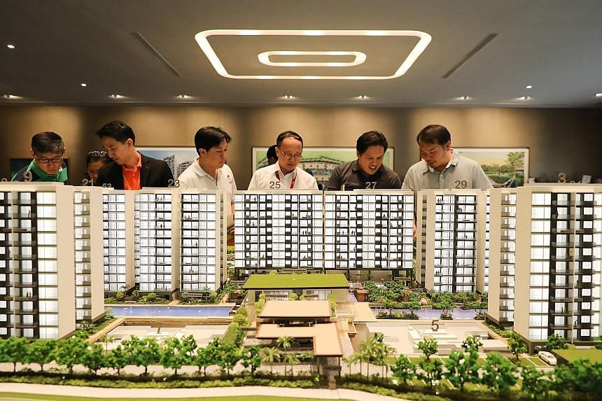 A scale model of Treasure at Tampines, one of two mega projects launched last month. The Florence Residences and Treasure at Tampines accounted for more than a third of the total new private home sales last month.